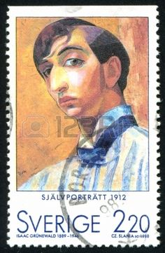 Self-Portrait  Isaac Grunewald, 1912 , stamp printed by Sweden,  circa 1988