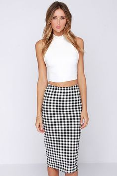 This cute black checkered midi skirt is only $37