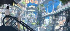 Dive into the wonderful art of Teikoku Shônen Aka Imperial BOy Environment Concept Art, Environment Design, Fantasy World, Fantasy Art, Vertical City, Anime City, Anime Scenery Wallpaper, Fantasy Landscape, Decoration
