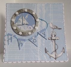 Card designed by Emma Smith using Harbour Boulevard. Nautical Cards, Nautical Theme, Boy Cards, Men's Cards, Craftwork Cards, Seaside Beach, Ocean Themes, Masculine Cards, Craft Work