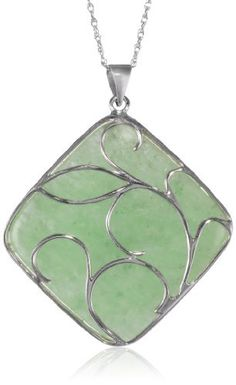 "Sterling Silver, Green Jade Scroll Overlay Square Pendant Necklace, 18"" Amazon Curated Collection. $62.00. Made in China. Save 48%!"