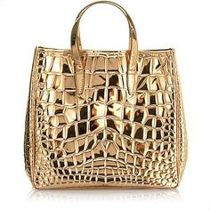 Yves Saint Laurent Large Crocodile Embossed Patent Leather Tote handbag bag