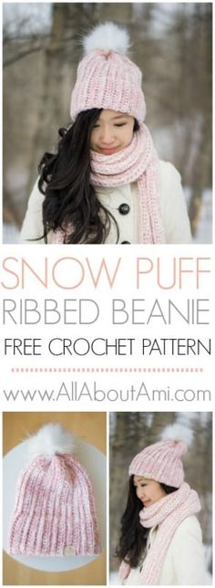 Snow Puff Ribbed Beanie: free crochet pattern to make this gorgeous double brim beanie while holding two strands of yarn!