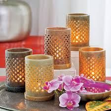 Brighter Homes hand carved Soapstone Tealight Holders - supporting local artisans in Uttar Pradesh, India where soapstone carving has a long and rich history. A way of giving back to smaller communities Scented Candles, Pillar Candles, Partylite, Soapstone Carving, Candle In The Wind, Bright Homes, Beautiful Candles, Decor Crafts, Home Decor