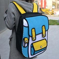 cartoon backpack, kawaii, fashion, jump from paper style bag Cute Backpacks, School Backpacks, Teen Backpacks, Backpack Bags, Fashion Backpack, Cartoon Bag, Oui Oui, Cute Bags, Cool Stuff