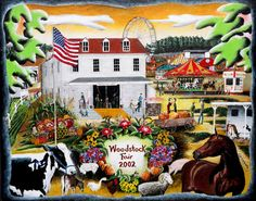 """Whimsical and colorful Folk art print of """"A Country Fair""""(Woodstock, CT). $65.00, via Etsy."""