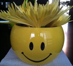 smiley face floral arrangement