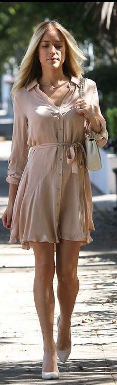 Who made  Kristin Cavallari's nude pumps, button down dress, and white handbag?