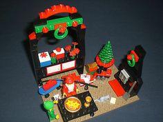 Lego Santa and Elf Custom Christmas Holiday Display Lego Christmas Village, Lego Winter Village, Christmas Stuff, Christmas Holidays, Xmas, Legos, Santa, Display, Christmas Things