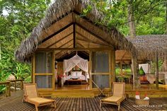 The Pacuare Jungle Lodge - Siquirres Costa Rica Hotel Bamboo House Design, Hut House, Jungle House, Koh Chang, Beach Bungalows, Lombok, Tropical Houses, Lodges, Gazebo