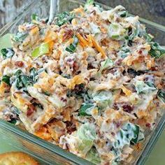 Million Dollar Dip Recipe Appetizers with green onions, cheddar cheese, mayonnaise, bacon bits, slivered almonds