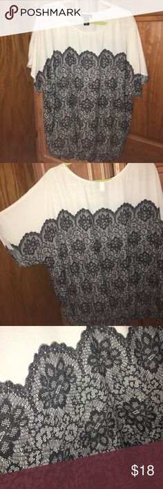 Lane Bryant Top (14/16) Dressy Black & Cream top (14/16). With elastic on the bottom band of the shirt. Lane Bryant Tops Blouses