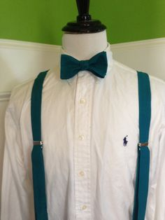 Adult bow tie and suspender set (any shade of blue greens you want)