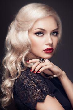 white-blonde hair- red lips