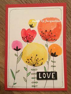 Aquarel bloemen #love #handlettering #kaart #card #flower