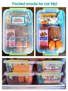 Fun way to pack children's snacks for car trips!Fun way to pack children's snacks for car trips! Road Trip With Kids, Family Road Trips, Travel With Kids, Family Travel, Family Vacations, Toddler Travel, Toddler Food, Snacks Road Trip, Lunch Snacks