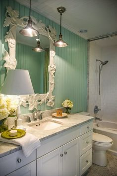 House of Turquoise: More from the HGTV Dream Home 2015 | turquoise walls, marble, industrial fixtures in the bathroom