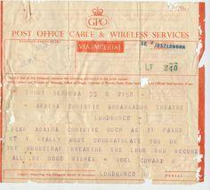 Noel Cowards's telegram to Agatha Christie, 1957