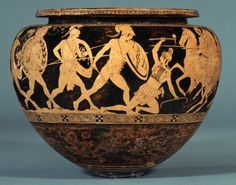 An Attic red-figure dinos bowl decorated with scenes of Theseus fighting the Amazon Andromache, 440-430 BCE. Dinoi were used for mixing wine with water. (The British Museum, London).