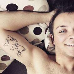 world map outline tattoo design