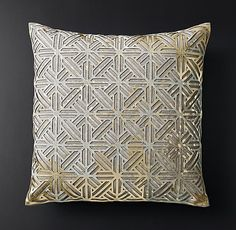 Metallic Cowhide Filigree Pillow Cover - Square from RH Modern Cowhide Pillows, Throw Pillows, Accent Pillows, Pillow Cover Design, Pillow Covers, Interior Design Layout, Cute Cushions, Luxury Cushions, Square