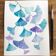 A sneak peak of my upcoming endangered flora series which will be available as art prints, stationery (and working on a notebook) at the end of summer. This is Gingko Biloba. The vibrant series will include Violets, Middlemist Red, Delphinium, and more. Delphinium, End Of Summer, Violets, Cosmos, Watercolor Art, Art Work, Design Art, Flora, Stationery