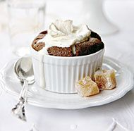 Chocolate Soufflés with Brown Sugar and Rum Whipped Cream this one can be frozen and then baked straight from the freezer