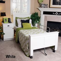 White Tendercare solid wood hospital bed headboard and footboard covers and matching nightstand