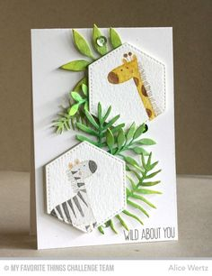 Wild About You Card by Alice Wertz featuring the Sweet Safari stamp set and the Leafy Greenery and Stitched Hexagon STAX Die-namics Creative Birthday Cards, Creative Cards, Kids Cards, Baby Cards, Arte Pop Up, Hexagon Cards, Hexagon Quilt, Karten Diy, Marianne Design