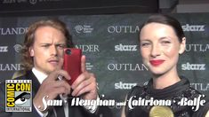 Besides looking gorgeous, Sam has the most perfect beautiful teeth!  ~  Outlander Premiere - Sam Heughan & Caitriona Balfe