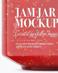 900ml Raspberry Jam Glass Jar w/ Clamp Lid Mockup - Half Side View