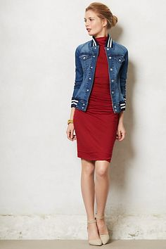 Turtleneck Jersey Dress I like the blue jean jacket layer. not this jacket, but just a blue jean jacket. Urban Fashion, Love Fashion, Womens Fashion, Trendy Outfits, Cute Outfits, 2014 Fashion Trends, Fashion Ideas, Red Turtleneck, New Dress