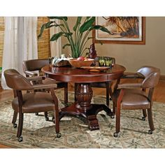 Steve Silver 5 Piece Tournament Dining Game Table Set with Caster Chairs - Cherry - SSC1637