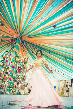 2017 was the year of mehendi lehengas! Brides wore as stunning outfits to their mehendi as they did on their wedding. Wedding Hall Decorations, Desi Wedding Decor, Marriage Decoration, Tent Decorations, Wedding Entrance, Wedding Mandap, Cute Wedding Ideas, Home Wedding, Wedding Venues