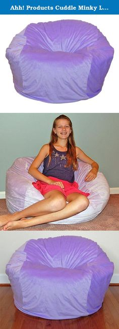 """Ahh! Products Cuddle Minky Lavender Washable Large Bean Bag Chair. Ahh! Products bean bag chairs are sure to be a favorite from toddler years and last through college. This 36"""" wide bean bag chair is perfect for kids, but will seat adults. This cover is a super soft, plush polyester minky fabric that is machine-washable. The seams are double-stitched for superior strength, no ripping or breaking even with the toughest play. Under the cover is an Ahh! Products exclusive liner that repels..."""