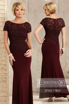#ChristinaWuElegance Style 17825 Venice lace gown featuring a bateau neckline, high back, and short sleeves, with jersey trumpet skirt and waist. MATERIAL Lace & Jersey SILHOUETTE Trumpet NECKLINE Bateau COLOR Wine, Teal, Platinum