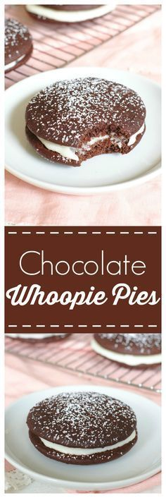 Chocolate Whoopie Pies – rich chocolate cake like cookies filled with a fluffy vanilla buttercream filling! An easy dessert recipe that will be a new favorite!