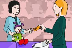 En la escena, se observa a una mamá comprando una muñeca en la juguetería. La dependienta le entrega la muñeca y estira para recibir el dinero. Spanish Grammar, Picture Story, Social Skills, Problem Solving, Language, Clip Art, Math, Pictures, Fictional Characters