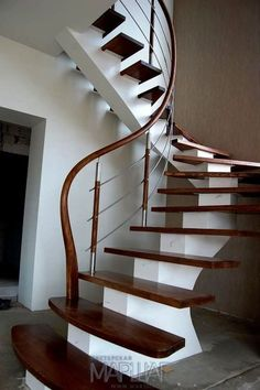 Steel construction, railings from stainless steel with wood, ash wood steps Staircase Interior Design, Staircase Railing Design, Luxury Staircase, Modern Stair Railing, Staircase Handrail, Home Stairs Design, Modern Stairs, Home Interior Design, House Design