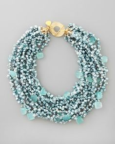 Blue Pearl & Chalcedony Necklace by Devon Leigh at Neiman Marcus......um you could so easily make this and for a HECK of a lot less than $850.