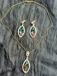 Colorful gems jewel set