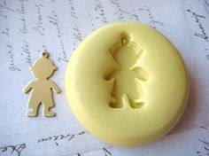 BOY (with bail) - Flexible Silicone Mold - Push Mold, Jewelry Mold, Polymer Clay Mold, Resin Mold, Craft Mold, Food Mold, PMC Mold