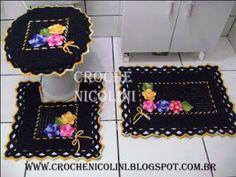 Croche Nicolini: Jogo de banheiro 3 peças