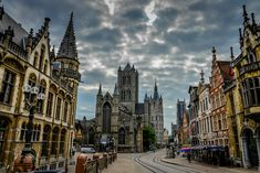 Historical center of Ghent Belgium - Old Post Office, Saint-Nicholas Church, Belfry, and Saint Bavo Cathedral St Nicholas Church, Saint Nicholas, Ghent Belgium, Brussels Belgium, Travel Around The World, Around The Worlds, Flanders Belgium, Old Post Office, Houses Of The Holy