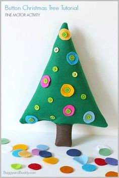DIY Felt Button Christmas Tree: Easy sewing project for older kids and adults! Makes a colorful holiday decoration and fine motor activity for kids too! ~ BuggyandBuddy.com