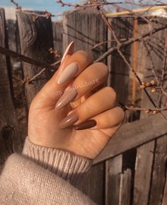 Brown Acrylic Nails, Brown Nails, Best Acrylic Nails, Brown Nail Art, Acrylic Nails Autumn, Beige Nails, Neutral Nails, Beige Nail Art, Dark Color Nails