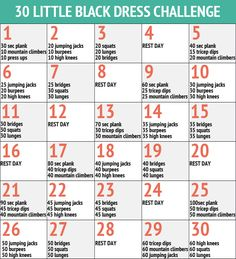 30 Day Little Black Dress Workout Fitness Challenge