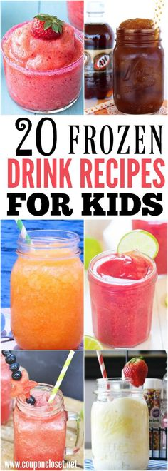 Take a look at these 20 kid friendly frozen drink recipes. Beat the heat with th… Take a look at these 20 kid friendly frozen drink recipes. Beat the heat with these quick and easy drinks. They are all so delicious and refreshing! Drink Recipes Nonalcoholic, Frozen Drink Recipes, Easy Drink Recipes, Frozen Drinks, Punch Recipes, Kid Recipes, Beverages, Alcoholic Desserts, Frozen Fruit