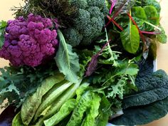 February 10, 2015A gift tray from the garden–purple cauliflower, mustard greens, broccoli, Swiss chard, spicy greens, Tuscan kale, lettuce, red winter kale.