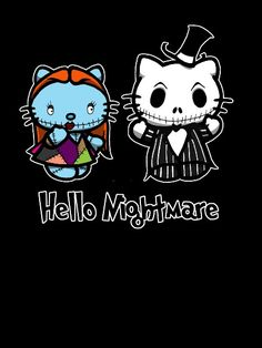 Nightmare Before Christmas and Hello Kitty crossover.  This is adorable and creepy and much of my childhood all in on picture...